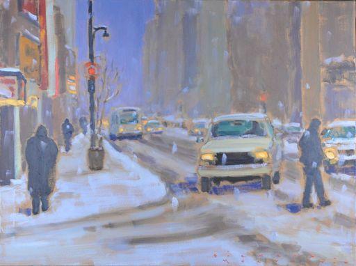 Richard MONTPETIT - Painting - Rue Ste-Catherine, dans la tempête
