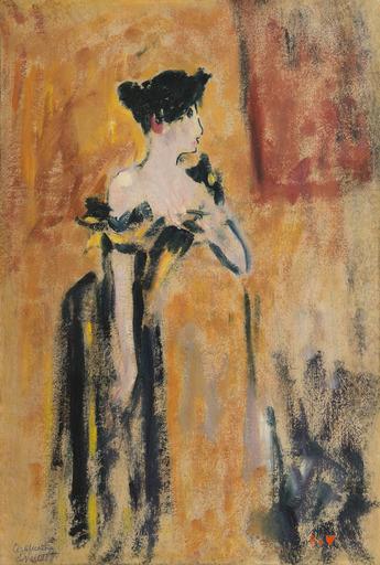 Louis VALTAT - Pittura - Brune à la robe noire et jaune