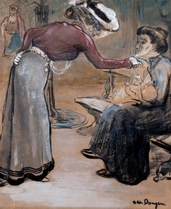 Kees VAN DONGEN - Drawing-Watercolor - Scène de rue