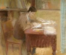 Lazare VOLOVICK - Dibujo Acuarela - Man by the Table