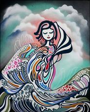 ANTHEA MISSY - Peinture - Playing With Dreams Off Kanagawa