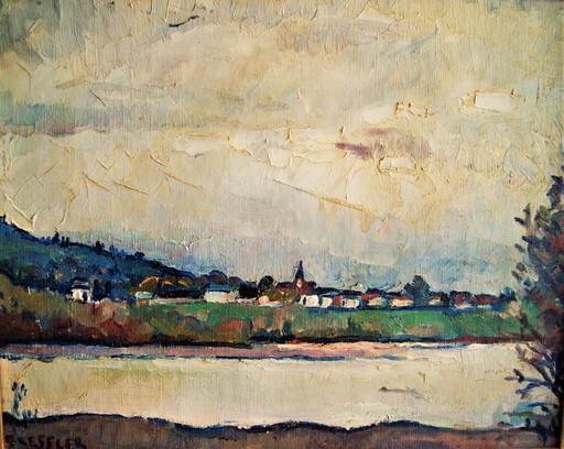 Emile BRESSLER - Pittura - Village en bord de rivère