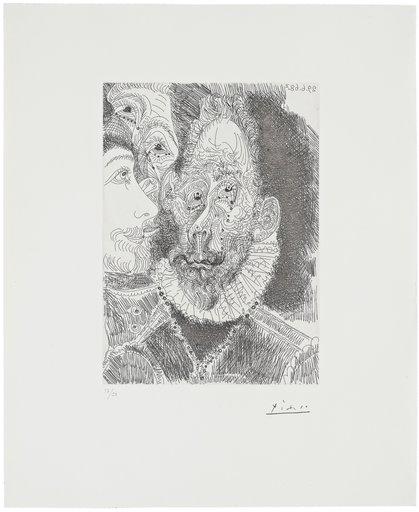 Pablo PICASSO - Grabado - Portrait-charge d'un personnage en larmes