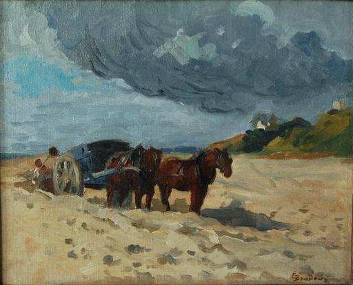 Émile BAUDOUX - Pintura - ramasseur de sable sur une plage de Normandie