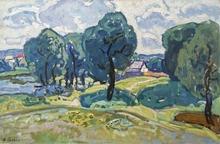 "Victor GAIDUK - Peinture - ""Ukrainian Landscape"" by Victor Gaiduk, 1970's"