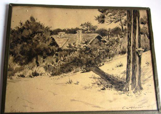 Charles-Louis HOUDARD - Drawing-Watercolor - MAISON DANS LES BOIS
