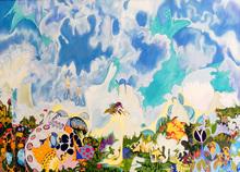 "Isaac ABRAMS - Gemälde - Landscape ""Descending Figures"" - -- SOLD"