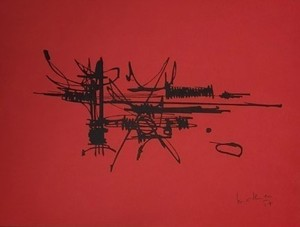 Georges MATHIEU - Stampa-Multiplo - COMPOSITION ROUGE