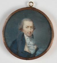 "DUBOURG AUGUSTIN - Dibujo Acuarela - ""Portrait of a Gentleman"" important published miniature"