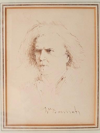 Léon Joseph Florentin BONNAT - Dibujo Acuarela - Portrait d'Alexandre Dumas fils