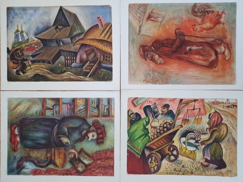 Issachar Ber RYBACK - Print-Multiple - My Village- 4 lithographs