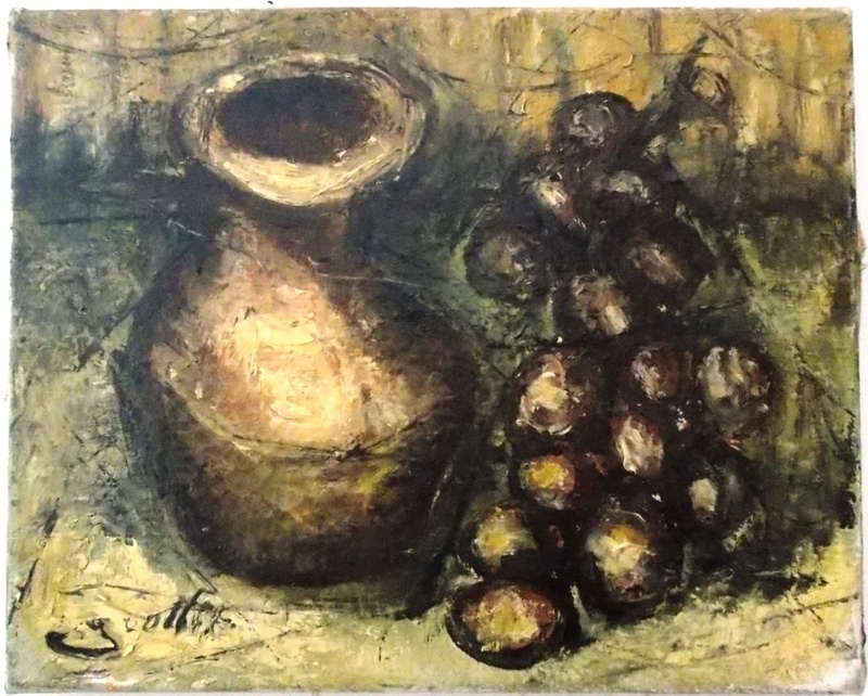 Jean Marie GOUTTIN - Peinture - pot et grappe de raisins