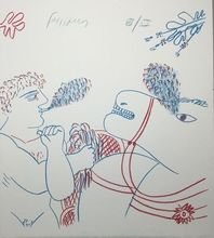 Alexandre FASSIANOS - Grabado - Le fumeur de cigarette et le cheval