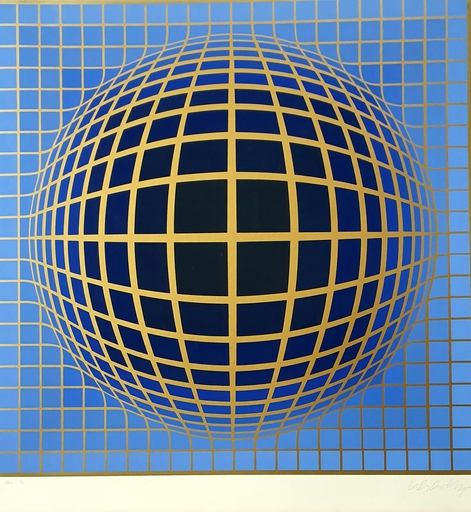 Victor VASARELY - Stampa-Multiplo - Composition in Blue and Black