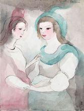 Marie LAURENCIN - Drawing-Watercolor - Deux jeunes femmes, rose et vert