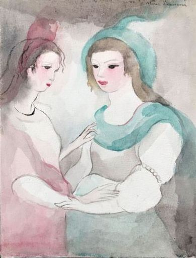 Marie LAURENCIN - Dessin-Aquarelle - Deux jeunes femmes, rose et vert