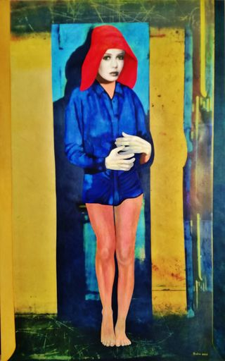 Christian SATIN - Painting - Girl with...   nothing , nada , nihil     (Cat N° 7243)