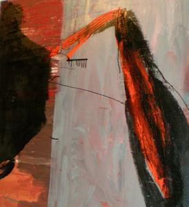 Tony SOULIÉ - Pintura - Black orange abstraction Circa 1989-90