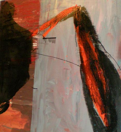 Tony SOULIÉ - Peinture - Black orange abstraction Circa 1989-90