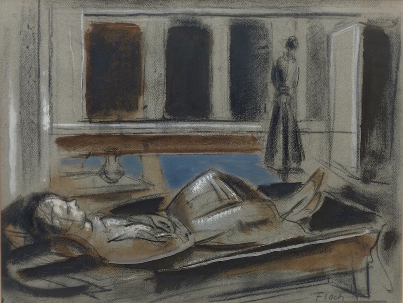 Joseph FLOCH - Drawing-Watercolor - Reclining Figure