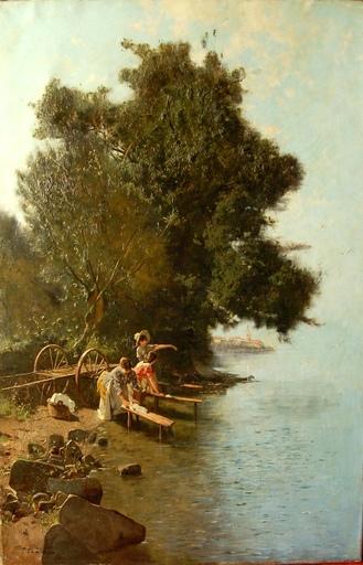 Édouard John MENTA - Painting - Lavandières au bord du lac Léman