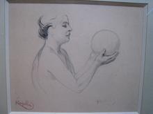Frantisek KUPKA - Drawing-Watercolor - FEMME AU BALLON   1904