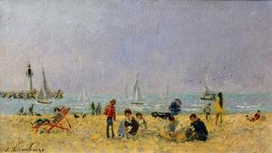André HAMBOURG - Painting - Sur la plage