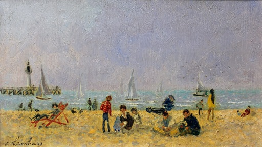 André HAMBOURG - Pintura - Sur la plage