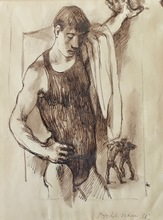 Pavel TCHELITCHEW - Drawing-Watercolor - Wrestlers (Men Wrestling)