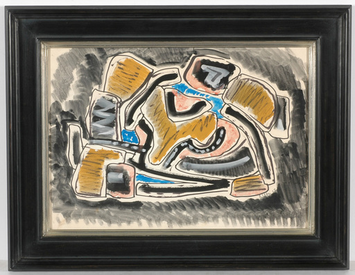 "Joseph LEVIN - Dessin-Aquarelle - ""Abstract composition"" watercolor, ca. 1950"