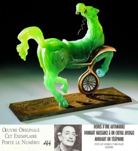 Salvador DALI - Scultura Volume - Debris of an Automobile Giving Birth to a Blind Horse