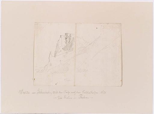 """Moritz VON SCHWIND - Dibujo Acuarela - """"Ruin Theben at the Danube River"""""""