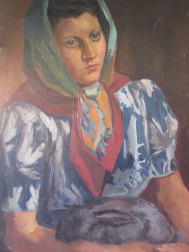 Georg HILLMANN - Pittura - Jeune femme pensive