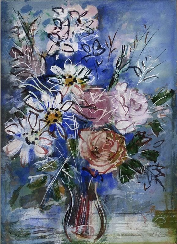 Jean DUFY - Dibujo Acuarela - Vase de Fleurs