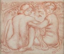 Aristide MAILLOL - Dibujo Acuarela - Deux jeunes femmes sous un arbre