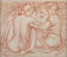 Aristide MAILLOL - Dessin-Aquarelle - Deux jeunes femmes sous un arbre