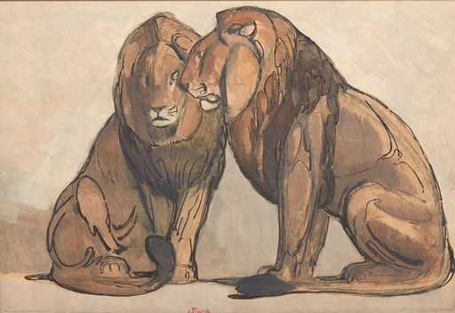 Paul JOUVE - Painting - Deux lions