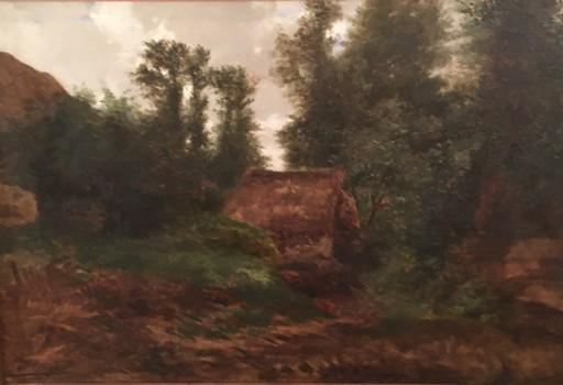 Auguste ALLONGÉ - Pintura - Cabane dans les bois