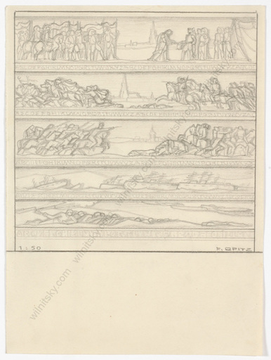 """Ferdinand OPITZ - Dibujo Acuarela - """"Project for wall decoration"""", drawing, 1930s"""