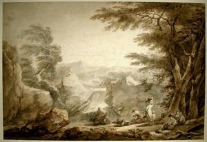 Francesco CASANOVA - 水彩作品 - Landscape with Peasants Resting near a Waterfall