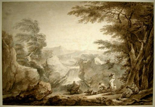Francesco CASANOVA - 水彩作品 - Landscape with Peasants Resting near a Waterfall