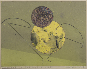 Max ERNST - Drawing-Watercolor - Stroller in the Moonlight