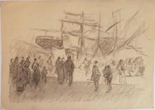 Marcel ARNAUD - Dibujo Acuarela -  Marseille le quai du Port