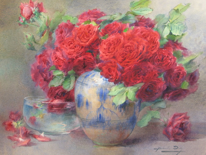 "Blanche ODIN - Drawing-Watercolor - TRES GRANDE AQUARELLE ""LES ROSES ROUGES"""