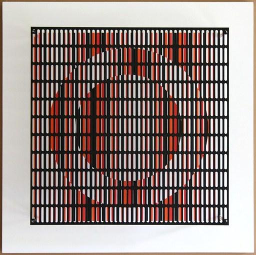 Antonio ASIS - Sculpture-Volume - Vibration cercle rouge, orange et noir