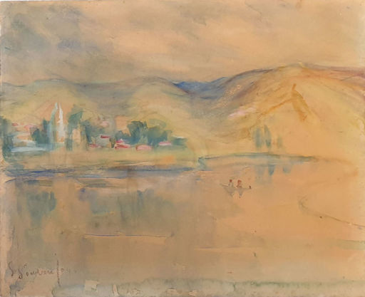 Sultana SOROUJOUN - Dibujo Acuarela - Landscape in  the Sea of Galilee.