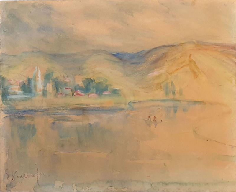 Sultana SOROUJOUN - 水彩作品 - Landscape in  the Sea of Galilee.