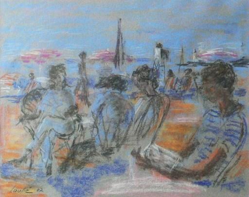 """Joseph LAULIÉ - Zeichnung Aquarell - """"La plage de Biarritz"""""""