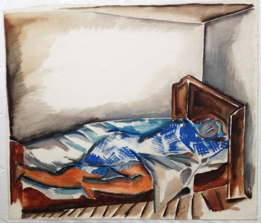 Ossip ZADKINE - Dibujo Acuarela - Femme endormie