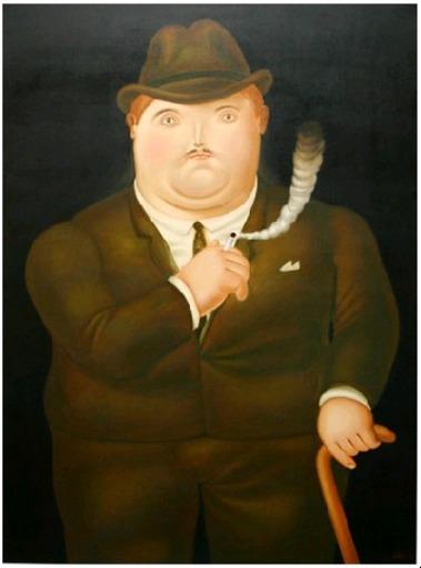 Fernando BOTERO - Painting - Hombre Fumando